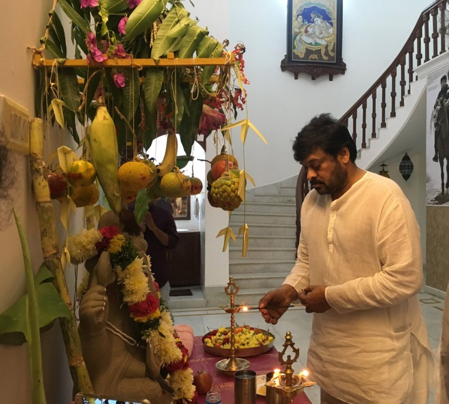 Ganesh Festival,Ganesh Festival celebrations,Megastar Chiranjeevi,Ram Charan,Chiranjeevi,Khaidi no 150,Chiranjeevi celebrates Ganesh Festival,Ram Charan celebrates Ganesh Festival,Khaidi no 150 working stills