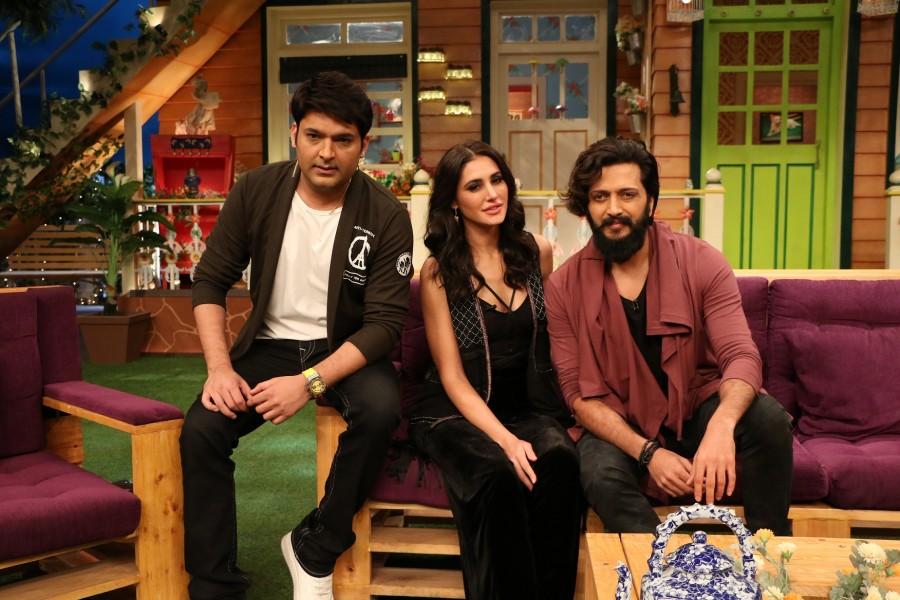 Riteish Deshmukh,Nargis Fakhri,Dharmesh Yelande,Banjo,Banjo promotions,Banjo movie promotions,Banjo on The Kapil Sharma Show,The Kapil Sharma Show,Banjo promotion pics,Banjo promotion images,Banjo promotion photos,Banjo promotion stills,Banjo promotion pi