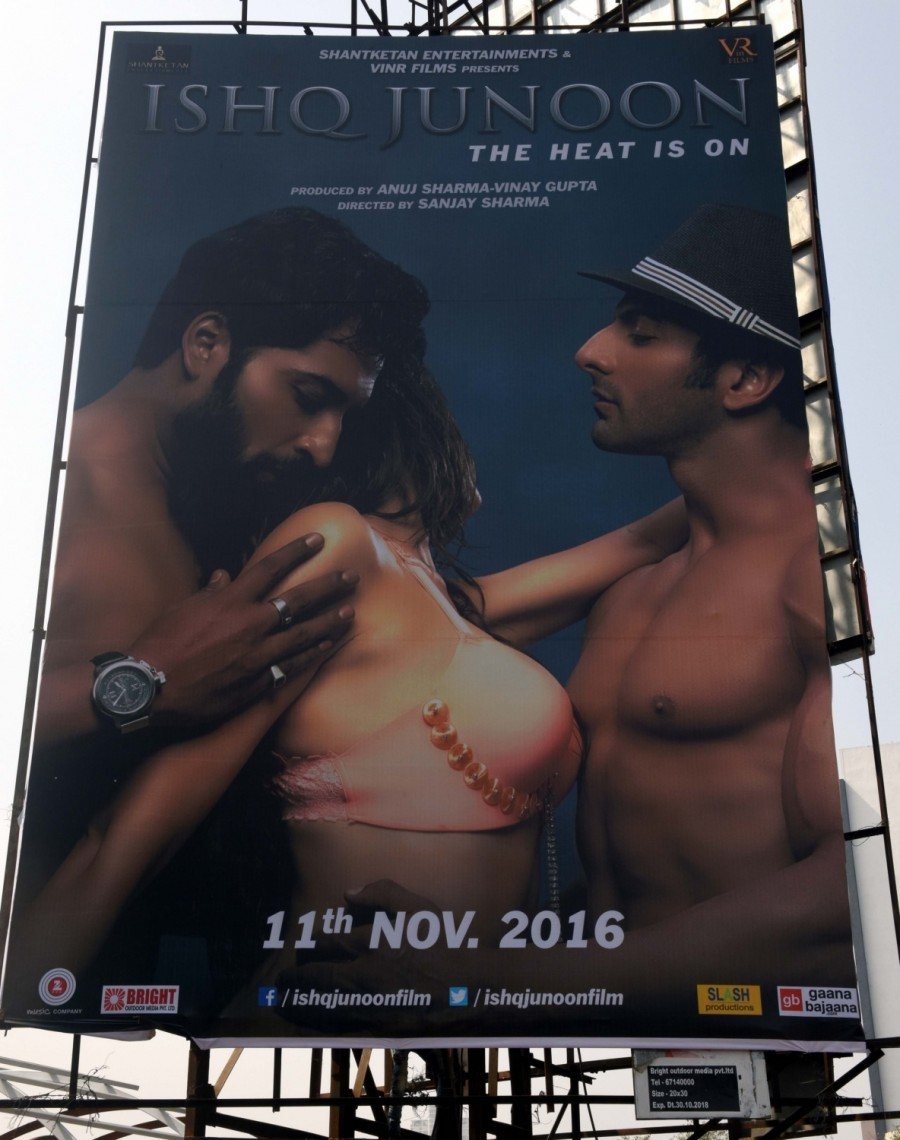 Shivsena,Ishq Junoon,Ishq Junoon vulgar poster,vulgar poster,Shivsena activists,protest against Ishq Junoon,too vulgar