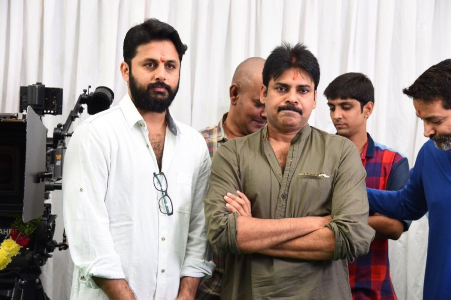 Pawan Kalyan,Trivikram Srinivas,Nithiin,Nithiin new movie pooja,Nithiin new movie launch,Nithiin movie pooja,Nithiin movie launch