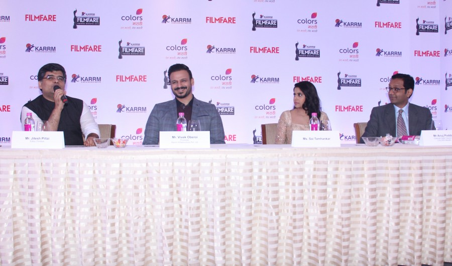 Vivek Oberoi,Sai Tamhankar,Anuj Poddar,Filmfare Awards,Marathi Filmfare Awards,Filmfare Awards Marathi,Press conference of Filmfare Awards Marathi,Press conference of Filmfare Awards