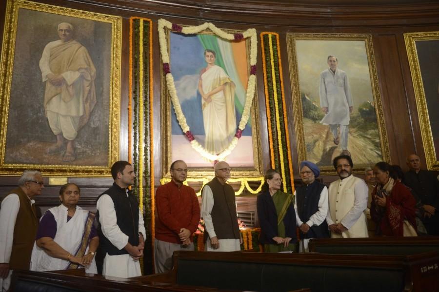 Indira Gandhi,Indira Gandhi birthday,former Prime Minister Indira Gandhi,Sonia Gandhi,Manmohan Singh,LK Advani,Arun Jaitley,Rahul Gandhi,Parliament House
