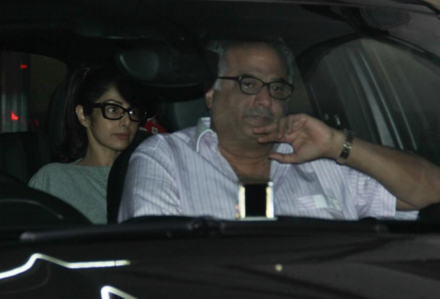Sridevi,Jhanvi,Boney Kapoor,Salman Khan,Sridevi at Salman Khan house,Jhanvi at Salman Khan house,Boney Kapoor at Salman Khan house
