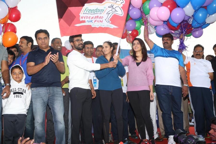 Mega Power Star Ram Charan,Ram Charan,Rashi Khanna,Sania Mirza,Minister KTR,Freedom 10K Run,10K Run