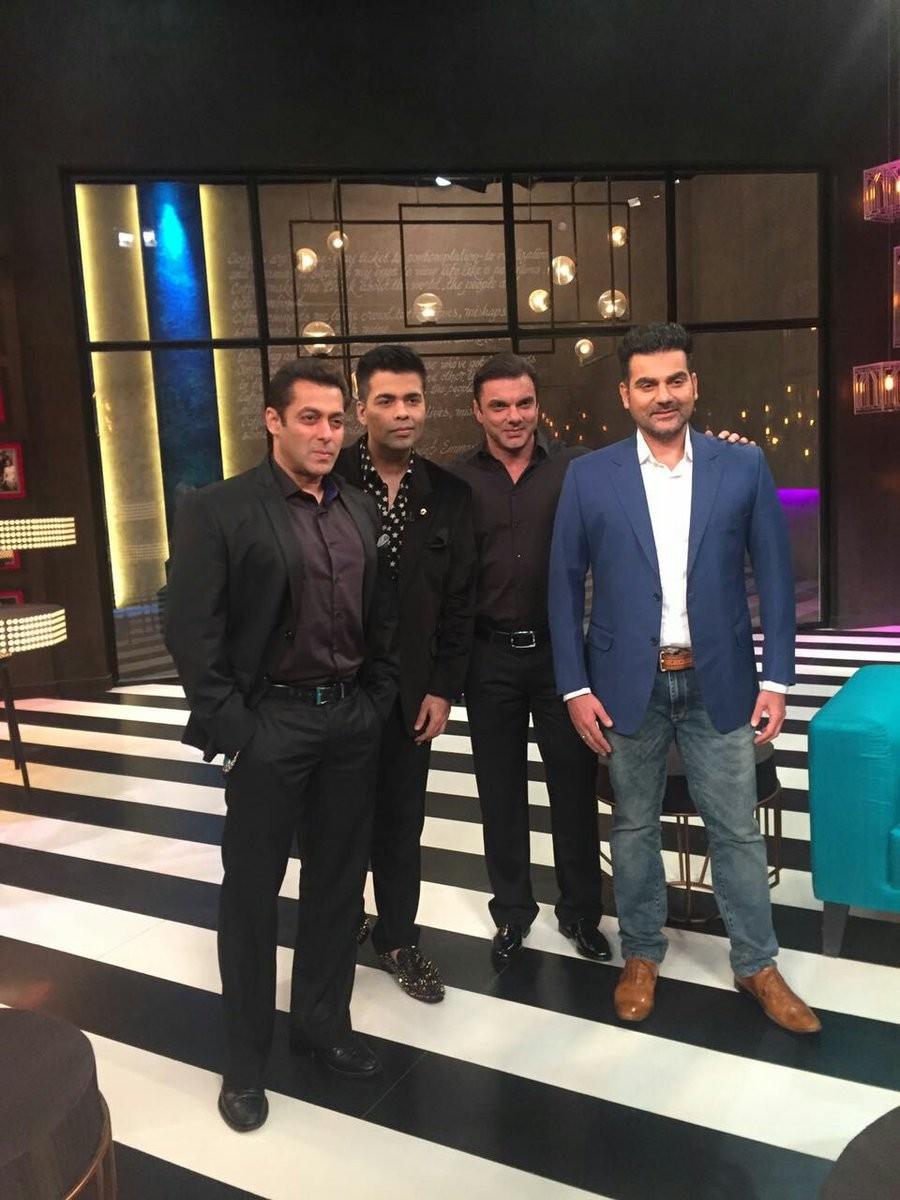 Koffee with Karan,Salman Khan at Koffee with Karan,Salman Khan with Koffee with Karan,Salman Khan at Koffee with Karan 100th episode,Koffee with Karan 100th episode,Sohail Khan,Arbaaz Khan