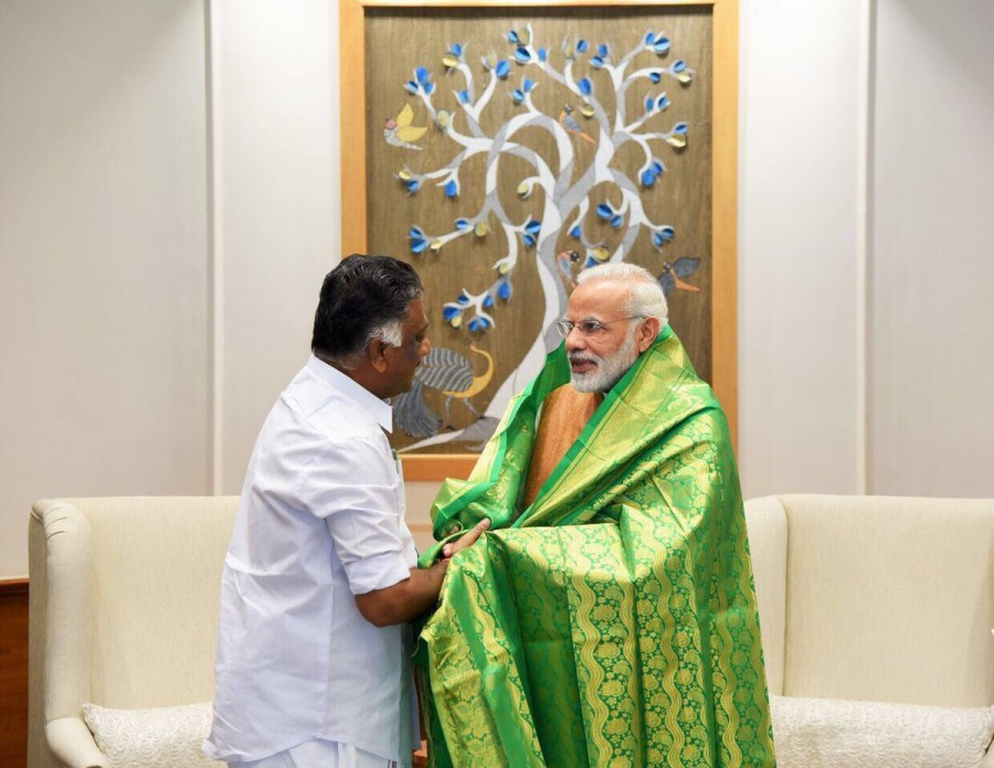 Panneerselvam,O Panneerselvam,Panneerselvam meets Narendra Modi,Panneerselvam meets Modi,Narendra Modi,Palaniswamy,Edapadi Palaniswamy