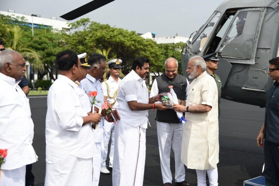 Narendra Modi,Narendra Modi in Chennai,CM Edappadi K Palaniswami,O. Panneerselvam,TN Guv Banwarilal Purohit,PM Narendra Modi