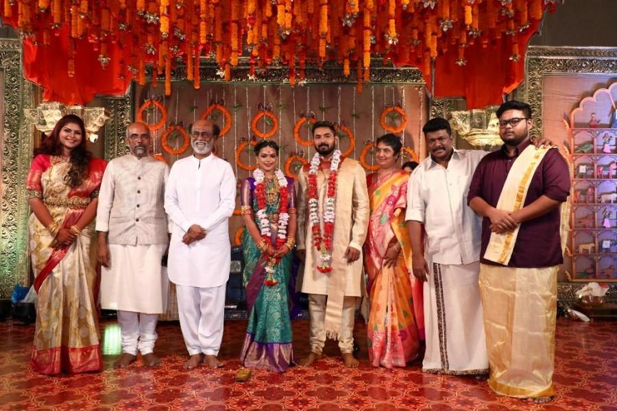 Keerthana and Akshay wedding,Keerthana and Akshay wedding pics,Keerthana and Akshay wedding images,Keerthana and Akshay marriage,Keerthana and Akshay marriage pics,R Parthiban,R Parthiban daughter,Kamal Haasan,actor Kamal Haasan,Rajinikanth