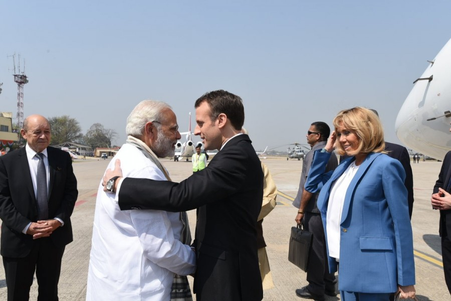 Image result for narendra modi and macron in varanasi