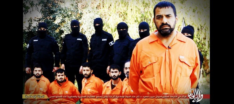 ISIS released still pictures of an upcoming video which shows the mass execution of Iraqi Police officers who 'spied' for US coalition.