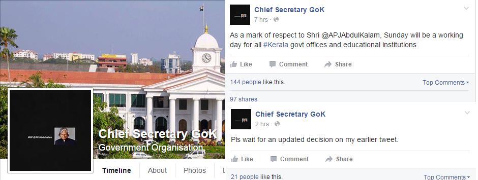 Abdul Kalam's Demise: Kerala Chief Secretary's Facebook Post Creates Confusion