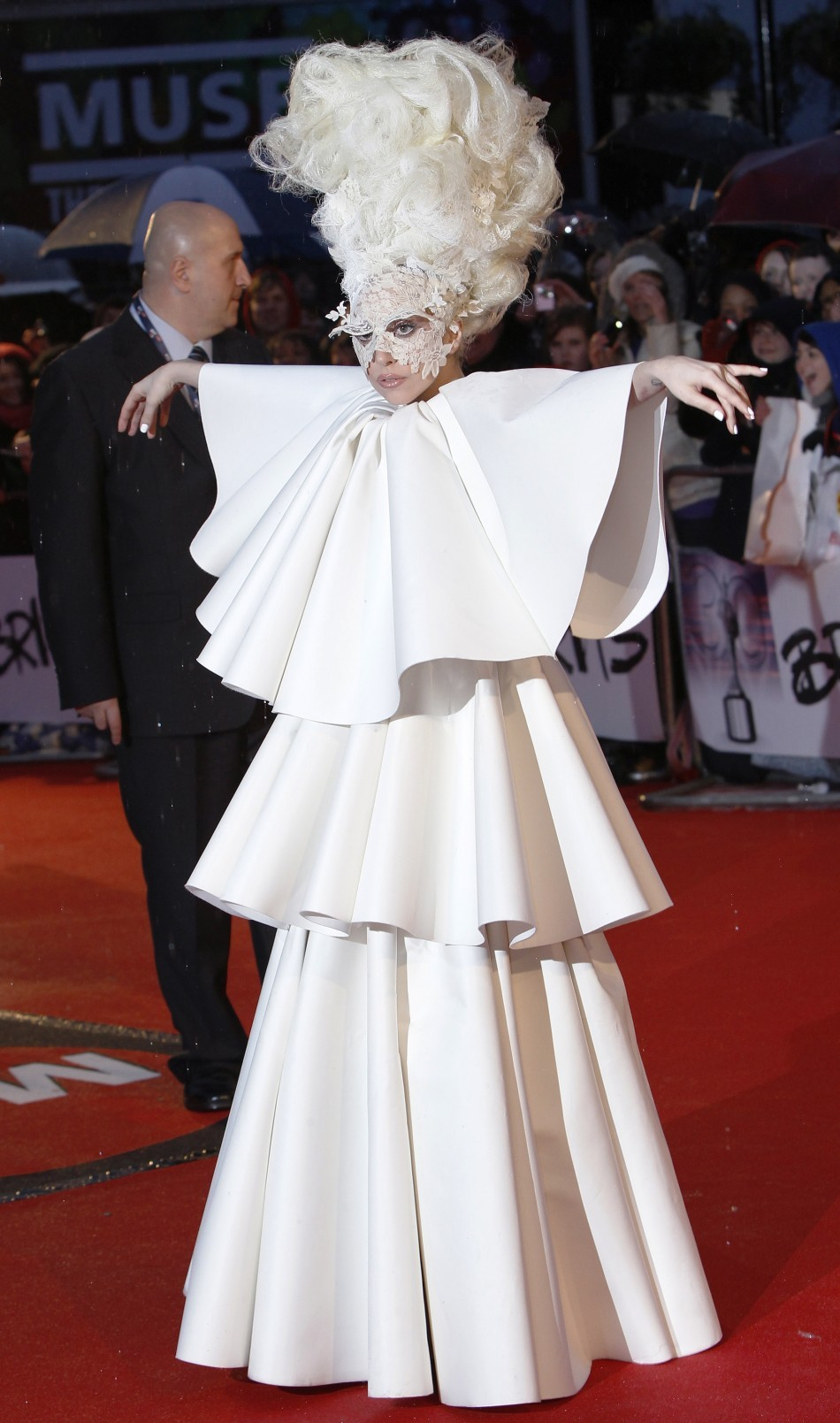 U.S. singer Lady Gaga arrives at the 30th Brit Awards ceremony at Earl's Court in London