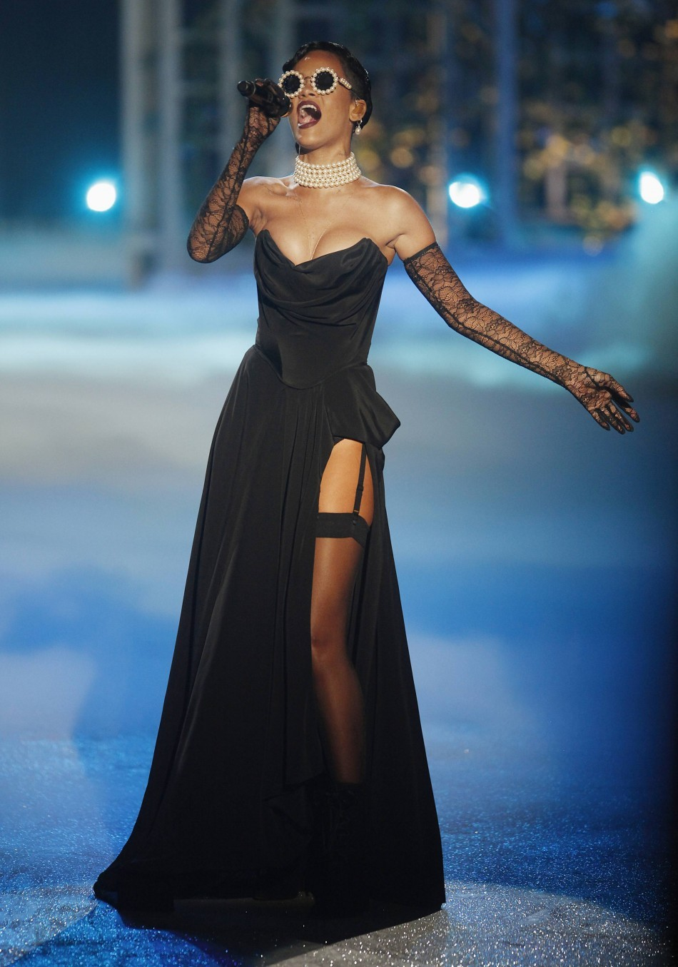 Singer Rihanna performs at the 2013 Victoria's Secret Fashion Show.