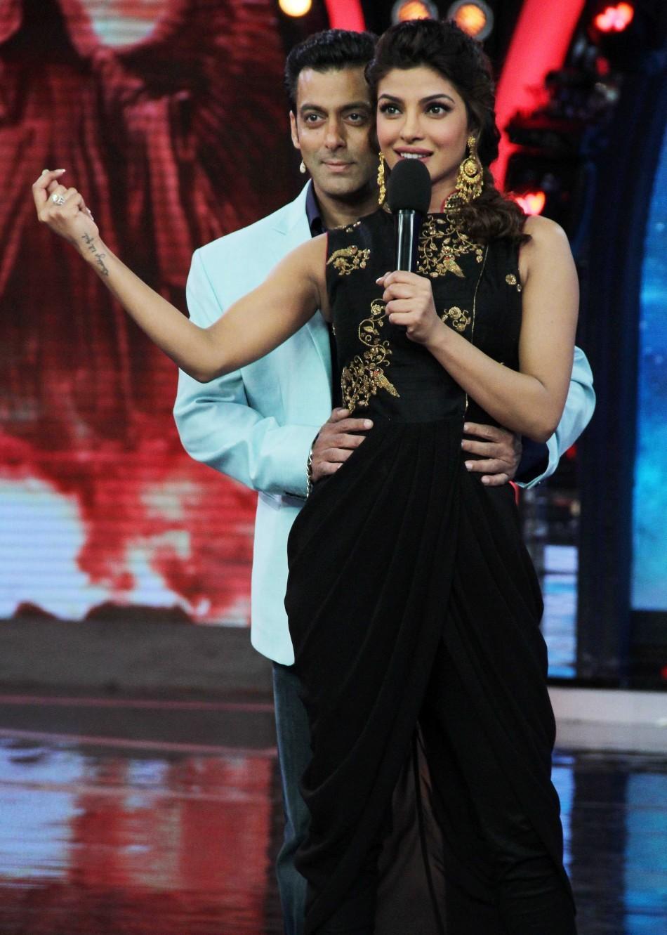 Priyanka Chopra and Salman Khan at Bigg Boss 7 (photo Varinder Chawla)