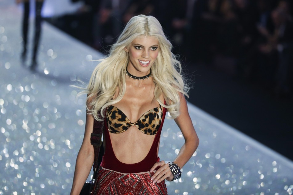 Model Devon Windsor presents a creation during the annual Victoria's Secret Fashion Show in New York