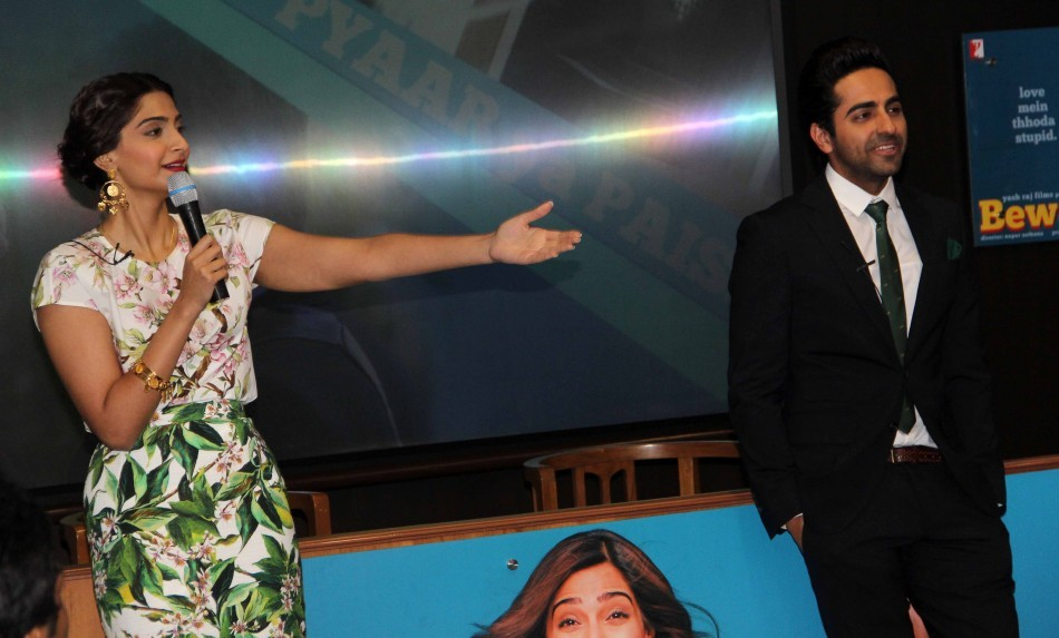 Sonam Kapoor and Ayushmann Khurrana at Press Conference of Bewakoofiyan