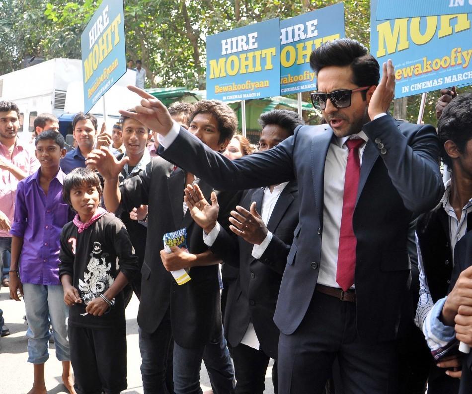 Ayushmann Khurrana promotes Bewakoofiyaan at Narima Point, Mumbai.