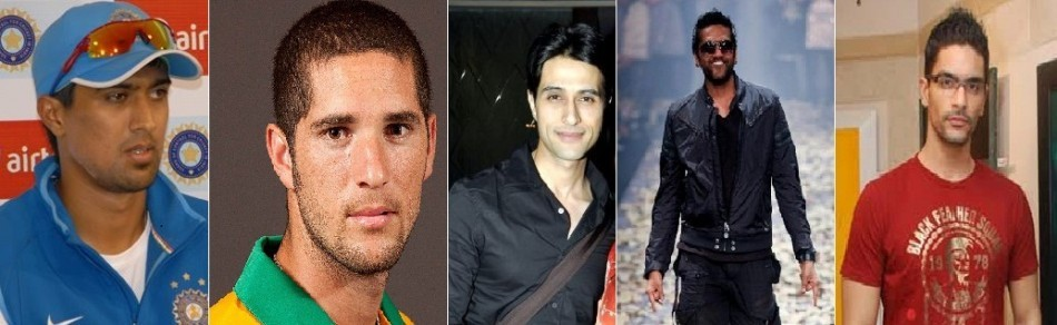 IPL cricketers Rahul Sharma, Wayne Parnell; Actor Apporva Agnihotri (L), designer Rocky S (C) and Angad Bedi (R) among the 46 tested positive for drug. Image: Wikipedia/ Facebook