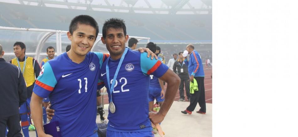 Sunil Chhetri with team-mate