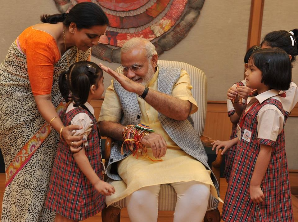 Narendra Modi,Narendra Modi rakhi,Narendra Modi rakhi celebrations,Narendra Modi raksha bandhan,raksha bandhan 2015,raksha bandhan celebrations