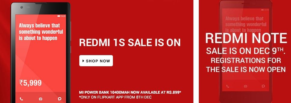 Xiaomi Redmi Note Flipkart Flash Sale Round 2 to Take-off on 9 December; Redmi 1S Now Available Online with No Registration