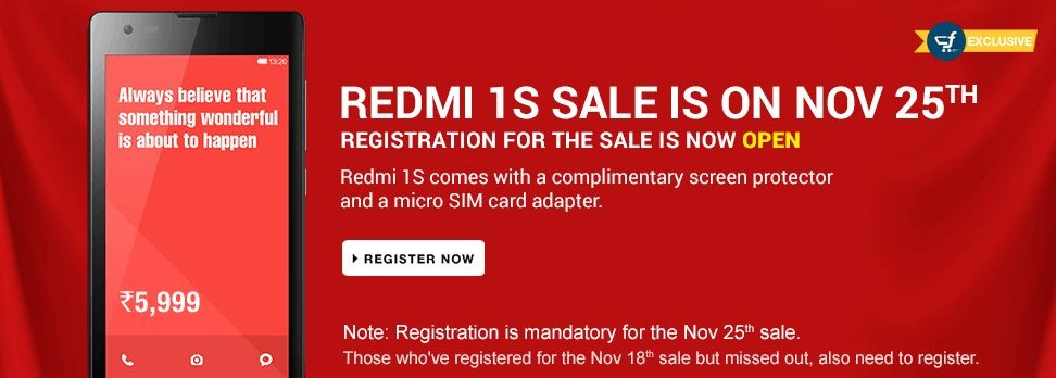 Xiaomi Redmi 1S Flipkart Flash Sale to Go Live on 25 November; Redmi Note to Release on 2 December