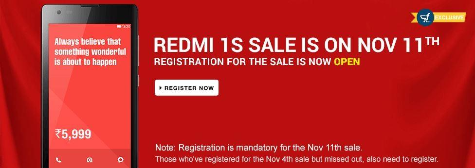 Xiaomi Redmi 1S Flipkart Flash Sale to Kick-off on 11 November