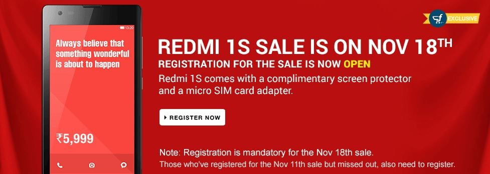 Xiaomi Redmi 1S Flipkart Flash Sale to Kick-off on 18 November; Redmi Note to Debut in India Soon