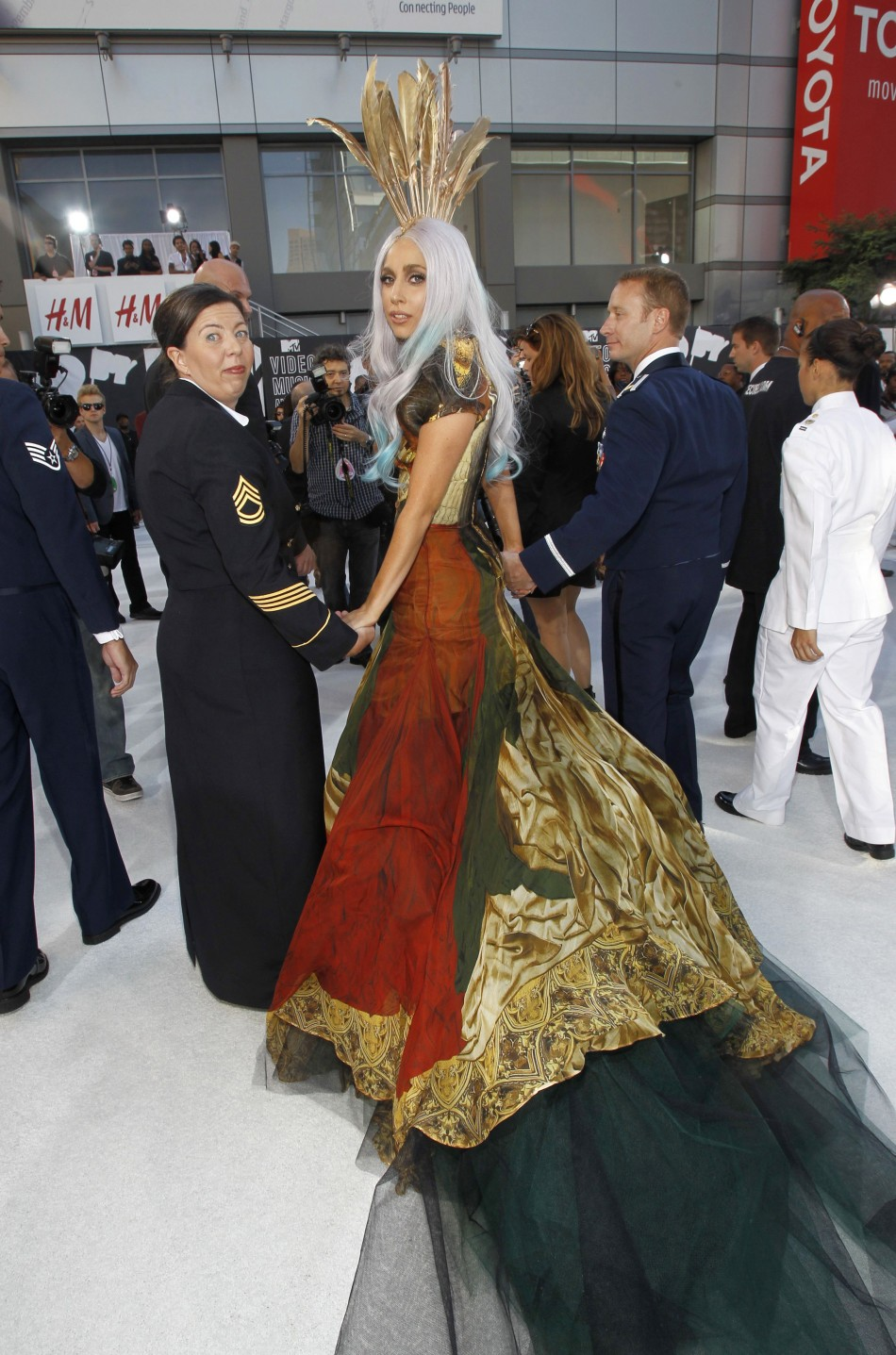 Singer Lady Gaga arrives at the 2010 MTV Video Music Awards in Los Angeles, California