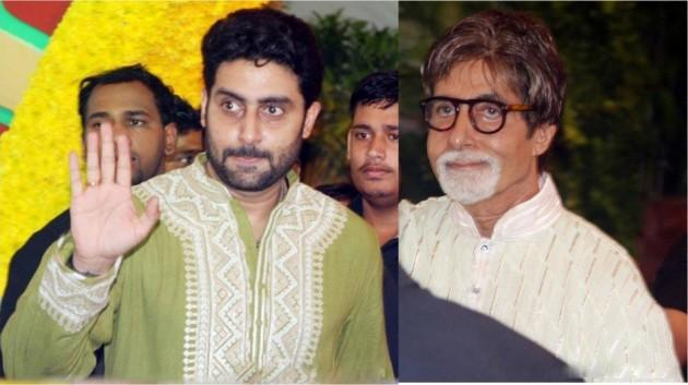 Actor Amitabh Bachchan (R) and Abhishek Bachchan at Esha Deol's wedding. (Facebook).