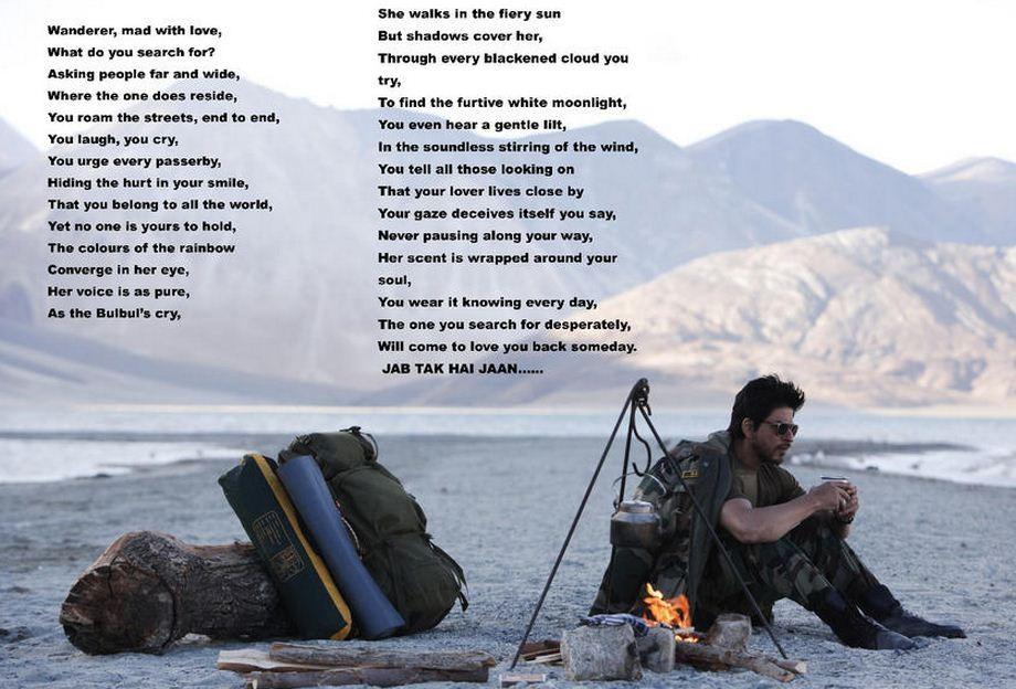 Jab Tak Hai Jaan  Shahrukh  Jab Tak Hai Jaan Poem
