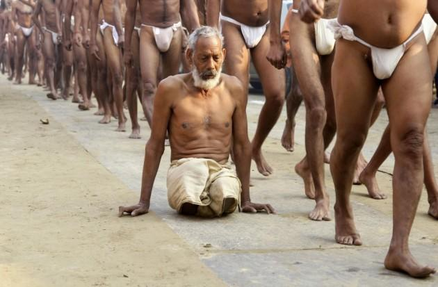 Newly initiated Naga Sadhus