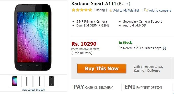 Karbonn's 5.0-inch Smart A111 Android Smartphone Pops Online for ₹10,290