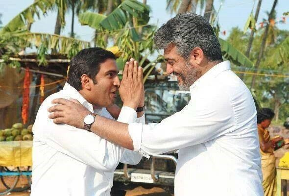"Ajith and Santhanam in ""Veeram"" (Facebook/Veeram Movie Fans Page)"