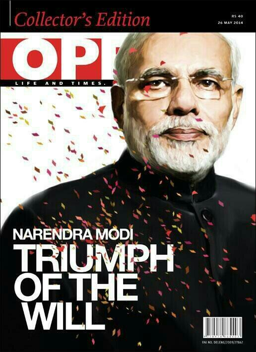 "One of India's English language Magazines has stirred controversy online after it chose to describe the victory of Narendra Modi with Hitler's title ""Triumph of the Will""."