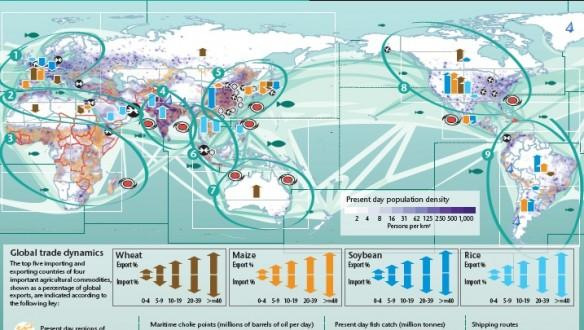 The Human Dynamics of Climate Change map, that predicts climate changes, trade, crop production, etc till the year 2100.