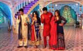 Sanam and Aahil of 'Qubool Hai' pose along with Parineeti and Aditya on the sets of Zee TV's Dawaat-E-Eid