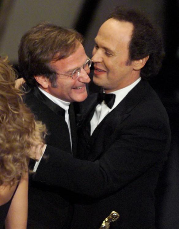 Robin Williams congratulated by Billy Crystal after winning the Academy Award for Best Supporting Actor for his role in Good Will Hunting