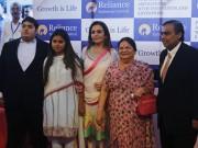 Mukesh Ambani with his son Akash, daughter Isha, wife Nita and mother Kokilaben