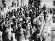 Moplah rebels captured after a battle with British colonial troops, during 1921 Moplah Uprising.