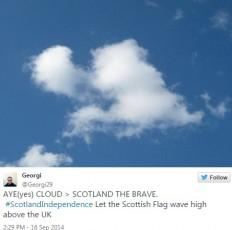 A peculiar-shaped cloud has everyone wondering if the heavens have decided that Scotland should part its way from the rest of the UK.