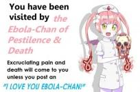 The image or meme shows a white lady, named Ebola-Chan, wearing a dress of a nurse holding a bloody skull. The end of her hair becomes curled up in a dangerous looking Ebola virus strains.