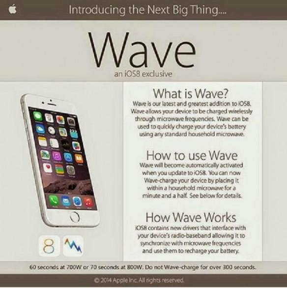 iOS 8 Hoax claims iPhone,iPad users can charge their phones in a microwave.