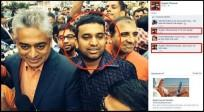 Yogesh Tibrewal bragged about the incident on Facebook and also posted a picture of him standing right behind Rajdeep Sardesai.
