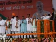 PM Narendra Modi at a rally in Haryana.
