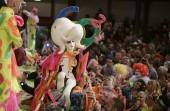 Miss Zero, whose real name is Sasha Frolova, of Russia celebrates winning the Alternative Miss World contest at Shakespeare's Globe theatre in London