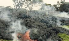Lava flow from the Kilauea Volcano in Hawaii advances towards residential area