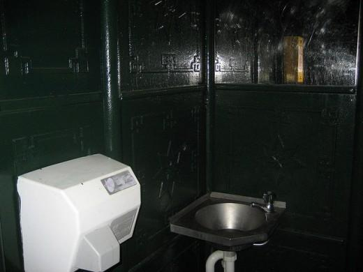 Public toilet, hand dryer
