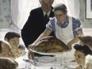 """The Thanksgiving Picture"" by Norman Rockwell shows a large family gathered at a table for a holiday meal as the Turkey arrives at the table."