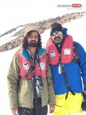 Mohanlal and Pranav Mohanlal in Antarctica